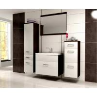 Evolet modern fürdőszoba bútor - wenge/MDF fényes fehér
