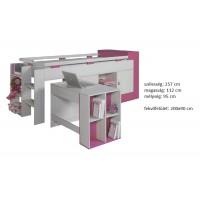 Kami KM16 - tini emelt gyerekágy + betolható íróasztal pink RAKTÁRON