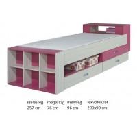 Kami KM17 - tini-gyerek ágy, fiókokkal+polcokkal PINK
