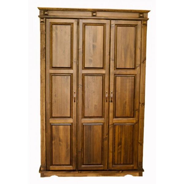 Fenyő 3 ajtós, válaszfalas szekrény - diópáccal kezelt