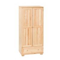 Fenyő 2 ajtós + 1 fiókos szekrény (akasztós vagy válaszfalas)