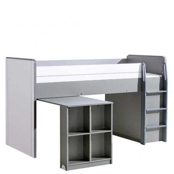 Gusztin 15 - emelt ágy + beépített asztal (fehér-antracit)
