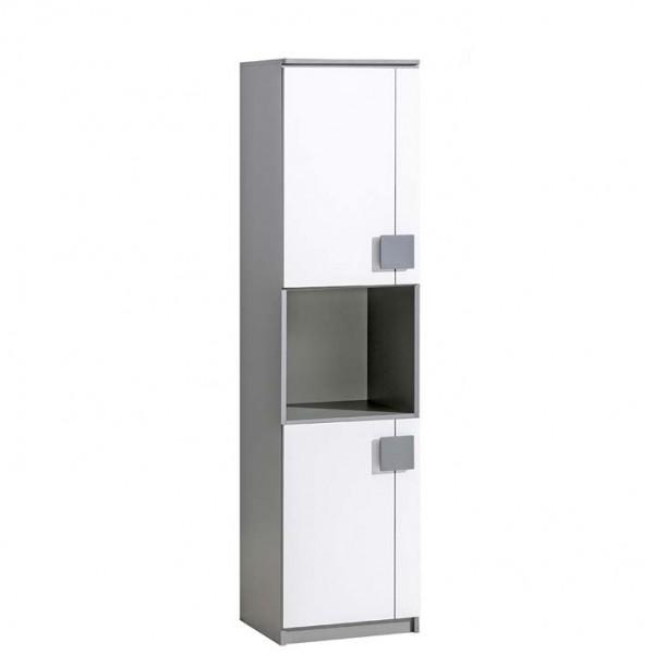 Gusztin 18 - polcos szekrény (fehér-antracit)