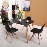 Svéd stílusú étkező 4 székkel (fekete)