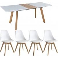 Svéd stílusú  bővíthető étkezőasztal 4 székkel