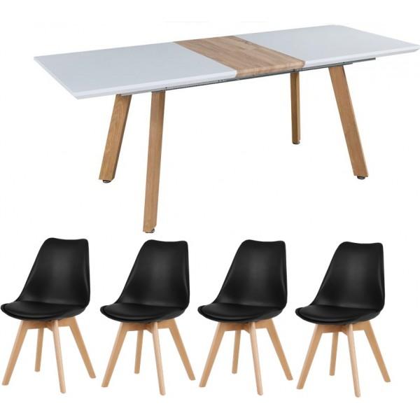 Svéd stílusú  bővíthető étkezőasztal 4 db fekete székkel