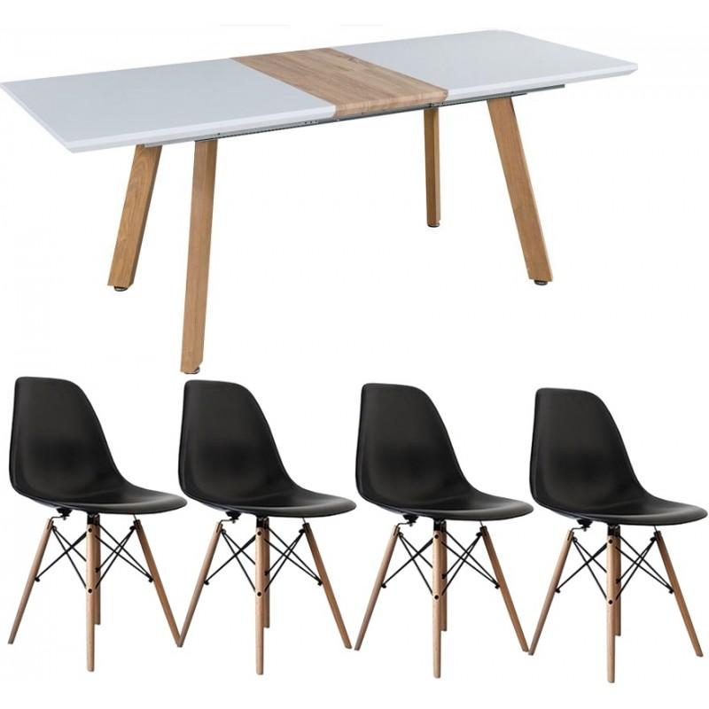 Svéd bővíthető étkezőasztal 4 db fekete Eiffel székkel