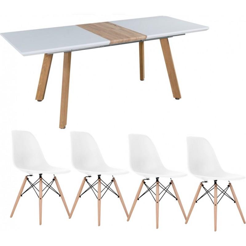 Svéd bővíthető étkezőasztal 4 db fehér Eiffel székkel