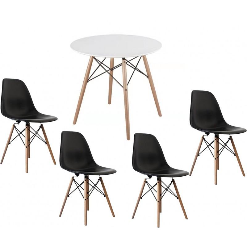 Eiffel stílusú étkező 4 fekete székkel