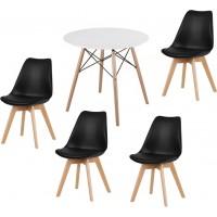 Eiffel stílusú étkezőasztal 4 db fekete Svéd székkel