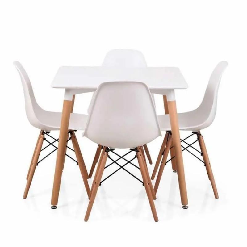 Svéd stílusú étkező 4 székkel (80x80)