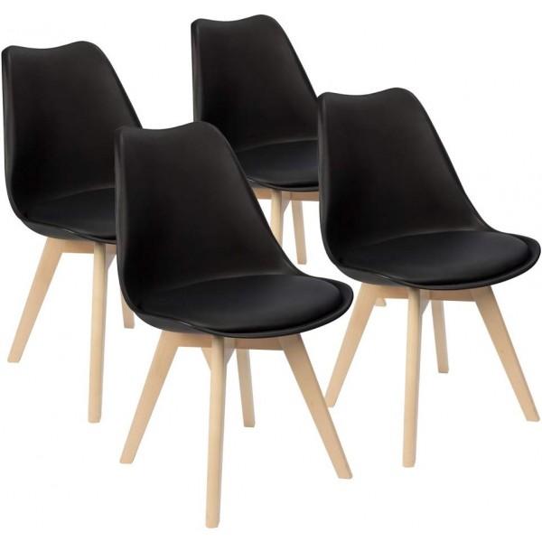 Svéd stílusú szék, étkezőszék (fekete)