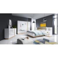 City elemes hálószoba bútor (fényes fehér) (1)